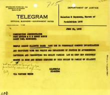 Image of telegram regarding the death of Harry Elliot