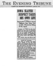 Image of newspaper article in The Evening Tribue, dated June 24, 1933, with headline: Iowa Slayer Suspect Takes His Own Life