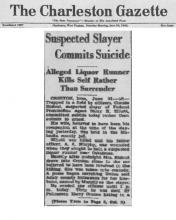 Image of newspaper article in The Charleston Gazette, with headline: Suspected Slayer Commits Suicide