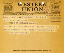 Image of telegram regarding the death of Investigator Howard Oursler