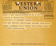Image of telegram regarding the death of Investigator Howard Oursler