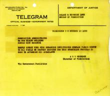 Image of telegram from Director of Prohibition on death notification of Investigator Howard Oursler