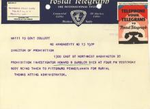 Image of telegram notifying the Director of Prohibition on the death of Investigator Howard Oursler