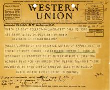 Image of telegram requesting confirmation of Investigator Howard Oursler in prosecution of Ed Stilwell for the murder of Oursler