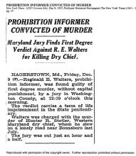 Image of the New York Times newspaper article, dated December 9, 1927, titled Prohibition Informer Convicted of Murder