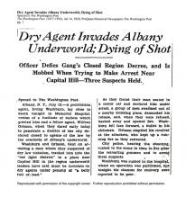 Image of The Washington Post newspaper article, dated July 14, 1928, titled Dry Agent Invades Albany Underworld; Dying of Shot