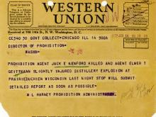 Image of telegram regarding death of Agent Jack Kenford