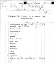 Image of hospital bill from Prairie Du Chien Sanitarium, Co., for Jack Kenford