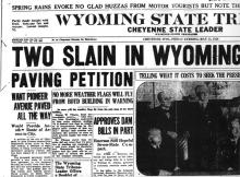 Image of the Wyoming State Tribune newspaper article, dated December 9, 1928, titled Two Slain in Wyoming.