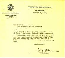Death Letter from the Treasury Department - James F Mcguiness