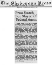 Image of newspaper article from the Sheboggan Press, with headline: Press Search for Slayer of Federal Agent