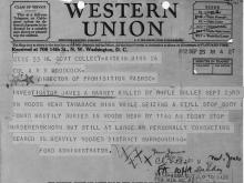 Image of telegram notification of the death of Investigator James Harney