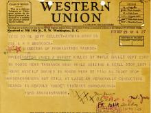 Image of telegram regarding the death of Investigator James Harney