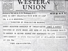 Image of telegram regarding the indictment of Harry Hedstrom for the murder of Investigator James Harney