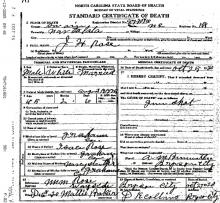 Image of the Death Certificate of James Holland Rose.