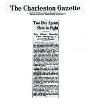 Image of newpaper article from The Charleston Gazette, dated July 29, 1931, with headline: Two Dry Agents Slain in Fight