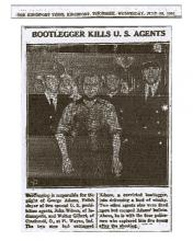 Image from the Kingsport Times, dated July 29, 1931, with photo headline: Bootlegger Kills U.S. Agents