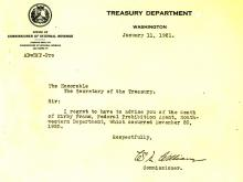Picture of the death announcement from the Treasury Department regarding Kirby Frans.