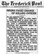 Image of The Frederick Post newspaper article, dated April 14, 1930, with the headline, Negro Faces Charge of Killing Officer