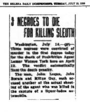 Image of The Helena Daily Independent newspaper article, dated July 15, 1930, with the headline, 3 Negroes to Die for Killing Sleuth