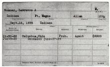 Image of service record card for Lawrence A. Mommer