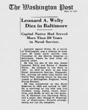 Image of newspaper article in The Washington Post, dated April 15, 1933, with headline: Leonard A. Welty Dies in Baltimore