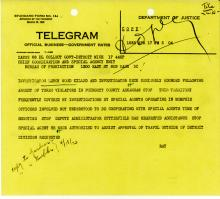 Image of telegram regarding the death of Investigator Leroy Wood