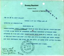 Image of telegram regarding the shooting of Investigator Leroy Wood
