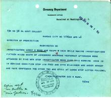 Image of telegram regarding the shooting of Investigator Leroy Wood
