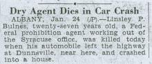 Image of newspaper article with headline: Dry Agent Dies in Car Crash