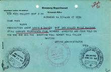 Image of a telegram regarding the death of Louis M. Davies