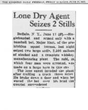 Image of The Kingston Daily Freeman newspaper article, dated June 17, 1927, titled Lone Dry Agent Seizes 2 Stills
