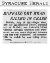 Image of The Syracuse Daily article, dated June 16, 1927, with headline Buffalo Dry Head Killed in Crash