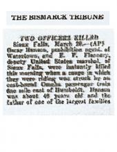 Image of The Bismark Tribune article with the headline, Two Officers Killed