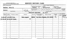 Image of a service record card for Otto P. Butler