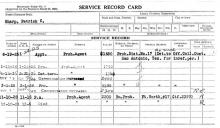 Image of a service record card for Patrick C. Sharp