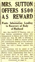 Image of newspaper article with the headline, Mrs. Sutton $500 as Reward