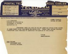 Image of a telegram regarding the finding of Ray Sutton's vehicle