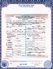 Image of death certificate for Raymond Ezzell