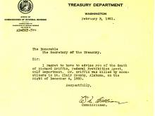 Picture of the death announcement from the Treasury Department regarding Richard Griffin.