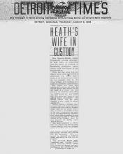 Image of the Detroit Times newspaper article, dated August 8, 1929, with the headline, Heath's Wife in Custody