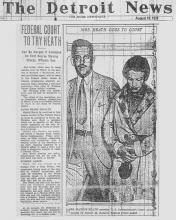 Image of The Detroit News article, dated August 10, 1929, with the headline, Federal Court to Try Heath