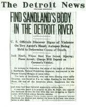 Image of the Detroit News article, dated August 7, 1929, with the headline, Find Sandland's Body in the Detroit River