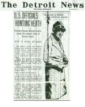 Image of the Detroit News article, dated August 8, 1929, with the headline, U.S. Officials Hunting Heath