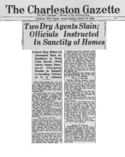 Image of The Charleston Gazette newspaper article, dated January 19, 1930, with the headline, Two Dry Agents Slain; Officials Instructed in Sanctity of Homes (Page 2 of 2)