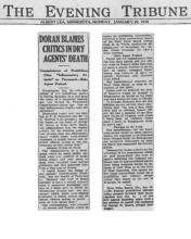 The Evening Tribune article, dated January 20, 1930, with the headline, Doran Blams Critics in Dry Agents' Death