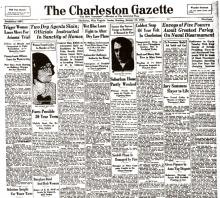 Image of The Charleston Gazette newspaper article, dated January 19, 1930, with the headline, Two Dry Agents Slain; Officials Instructed in Sanctity of Homes, (Page 1 of 2).