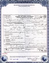 Death Certificate of Stafford Beckett