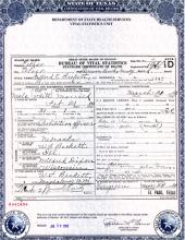 Death Certificate of Stafford Beckett