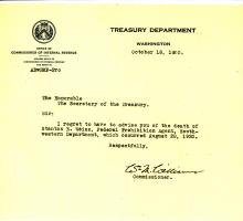 Picture of the death announcement from the Treasury Department regarding Stanton E. Weiss.